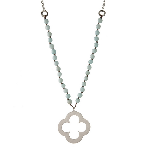 Wholesale silver necklace light blue natural stone beads open clover pendant