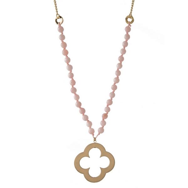 Wholesale gold necklace rose quartz natural stone beads open clover pendant