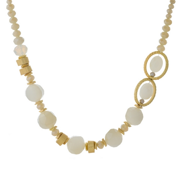 Wholesale gold necklace opal ivory topaz beads