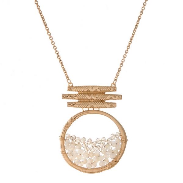 Wholesale gold necklace ivory beaded circle pendant