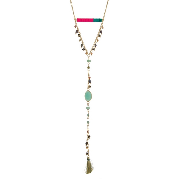 Wholesale gold necklace hot pink teal thread wrapped bar fabric tassel pendant