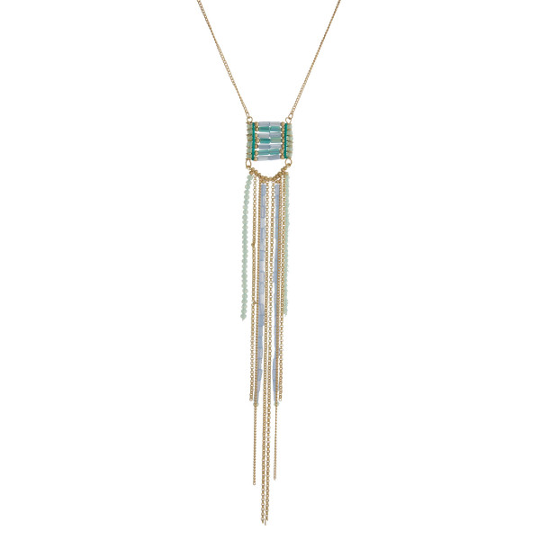 Wholesale gold necklace mint green blue beaded tassel pendant