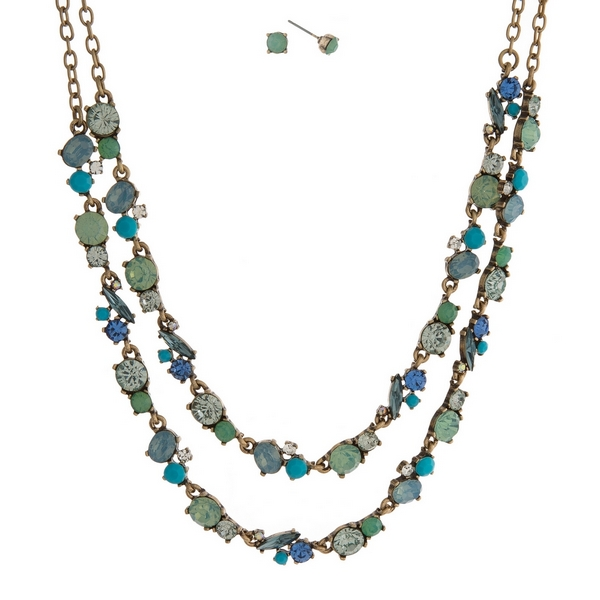 Wholesale burnished gold necklace set two layers mint green blue turquoise rhine