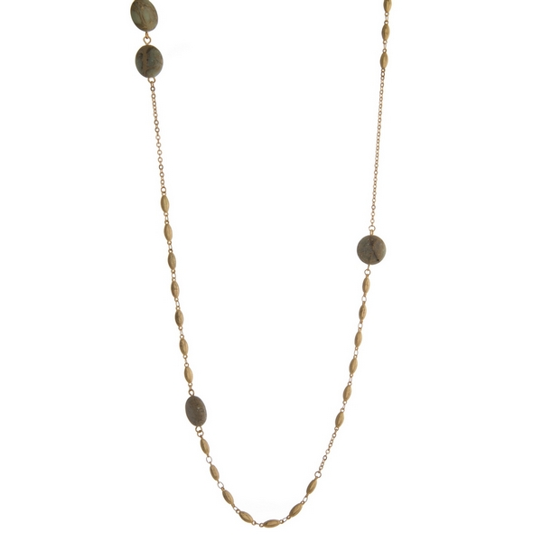 Wholesale gold necklace gray natural stones