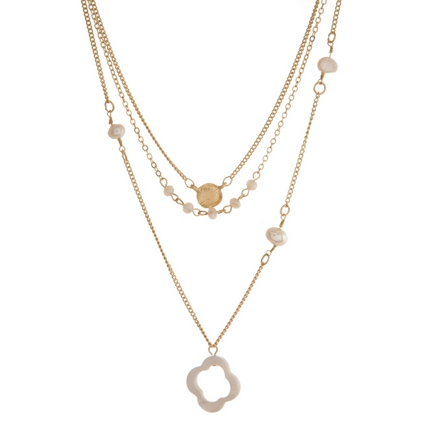Wholesale dainty gold three layer necklace freshwater pearl beads clover pendant
