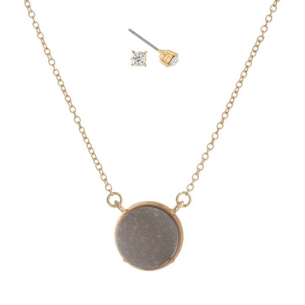 Wholesale gold necklace set gray faux druzy circle stone pendant matching stud e