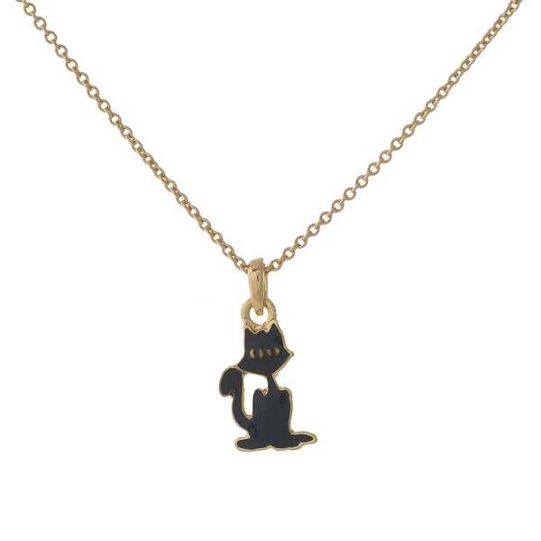 Wholesale dainty gold necklace black cat pendant