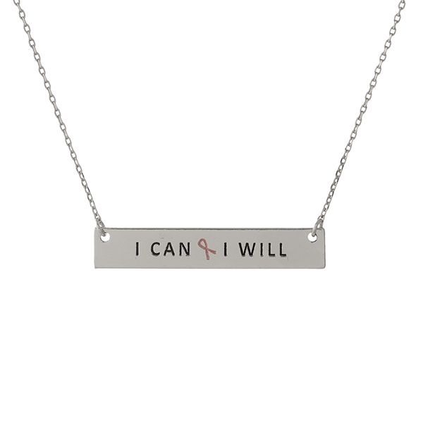 Wholesale dainty silver Breast Cancer Awareness necklace bar pendant stamped I C