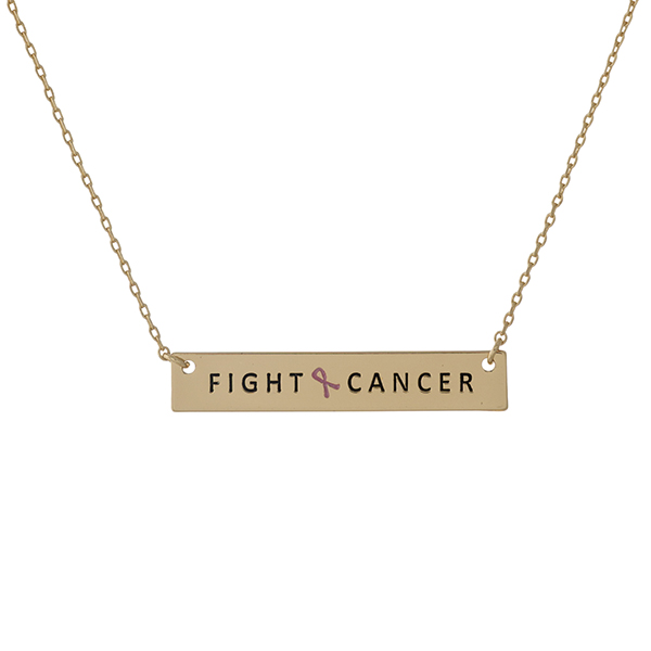 Wholesale dainty gold Breast Cancer Awareness necklace bar pendant stamped Fight