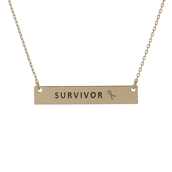 Wholesale dainty gold Breast Cancer Awareness necklace bar pendant stamped Survi