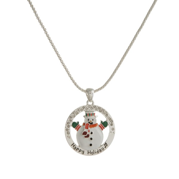 Wholesale silver necklace circle snowman pendant stamped Happy Holiday