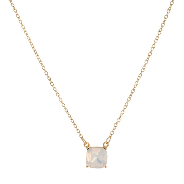 Wholesale dainty gold necklace square rhinestone pendant