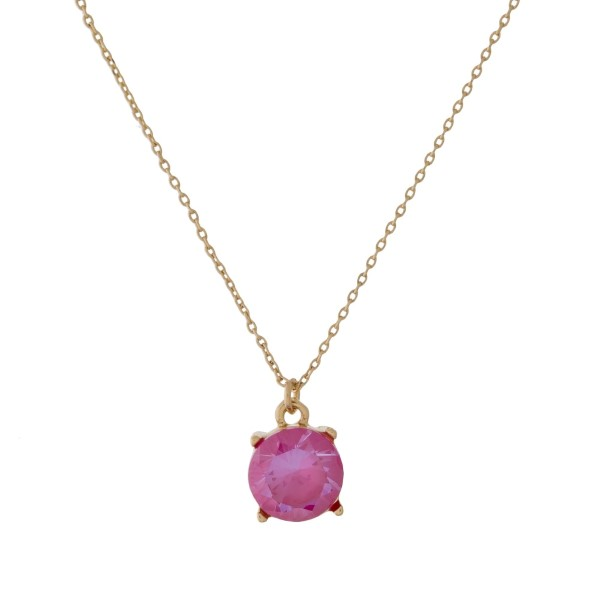 Wholesale dainty gold necklace CZ rhinestone pendant