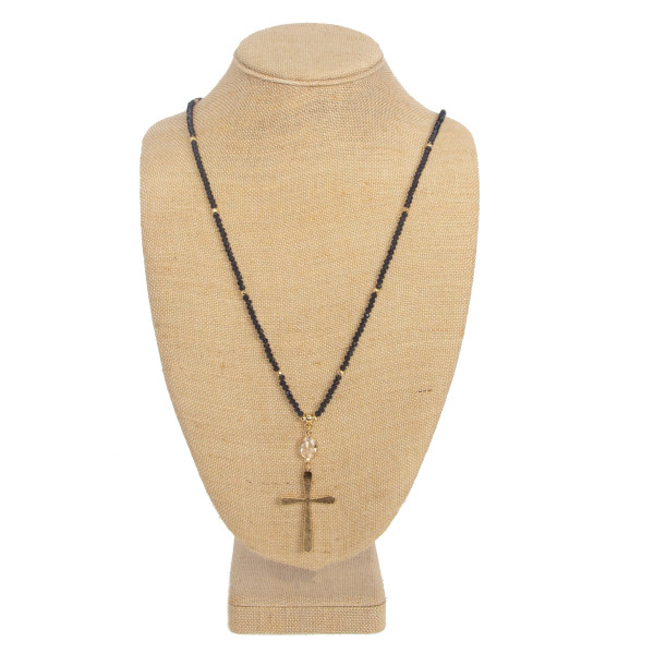 Wholesale long necklace faceted beads cross pendant