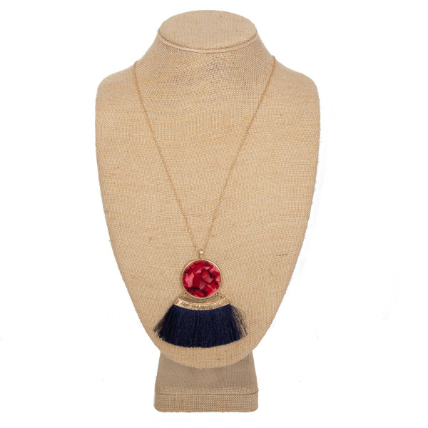 Wholesale long necklace acetate circle fanned tassel pendant