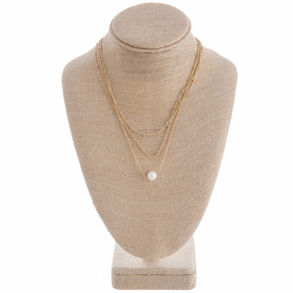 Wholesale multi layered metal necklace pearl pendant Approximate pendant