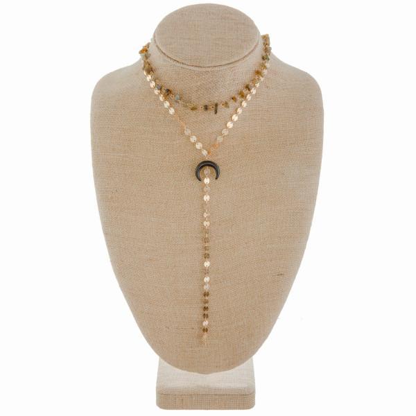 Wholesale long metal Y necklace crescent pendant Approximate