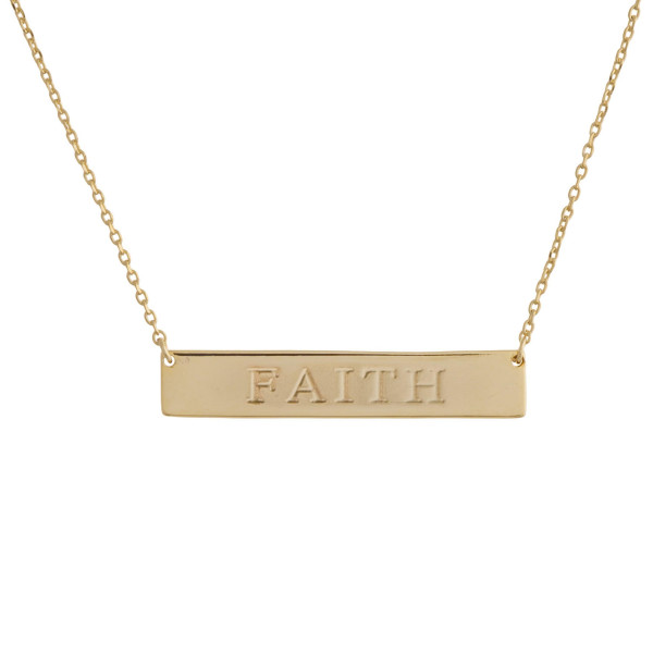 Wholesale gold dipped necklace bar pendant engraved message Faith Approximate pe