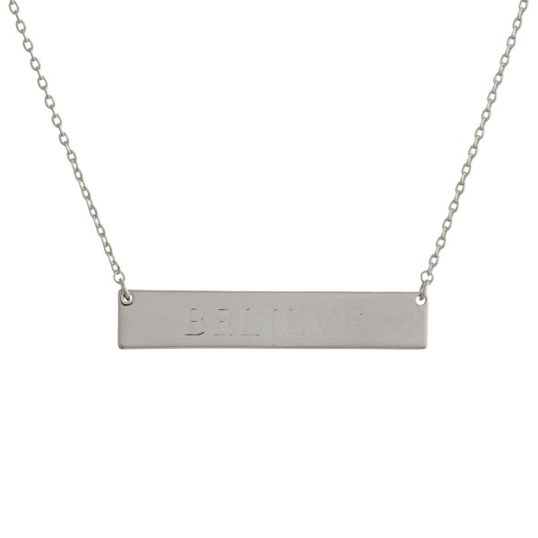Wholesale gold dipped necklace bar pendant engraved message Believe Approximate