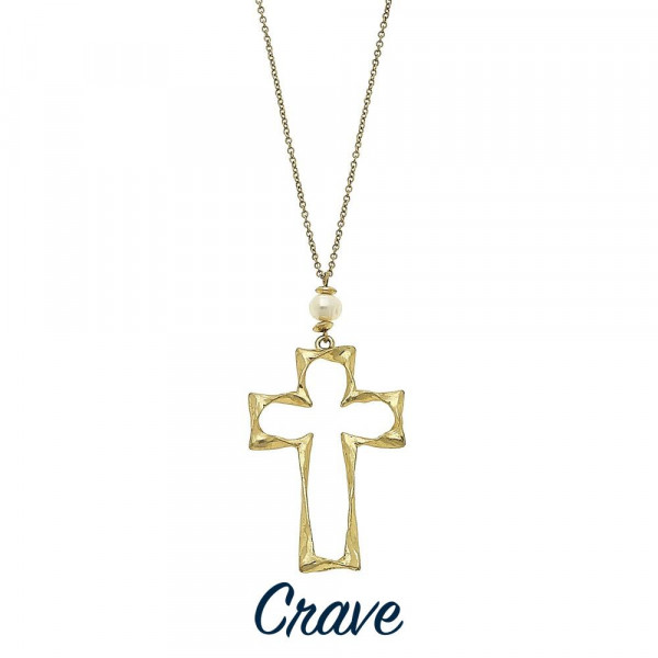 Wholesale long hammered cross pendant necklace faux pearl detail Chain long Pend