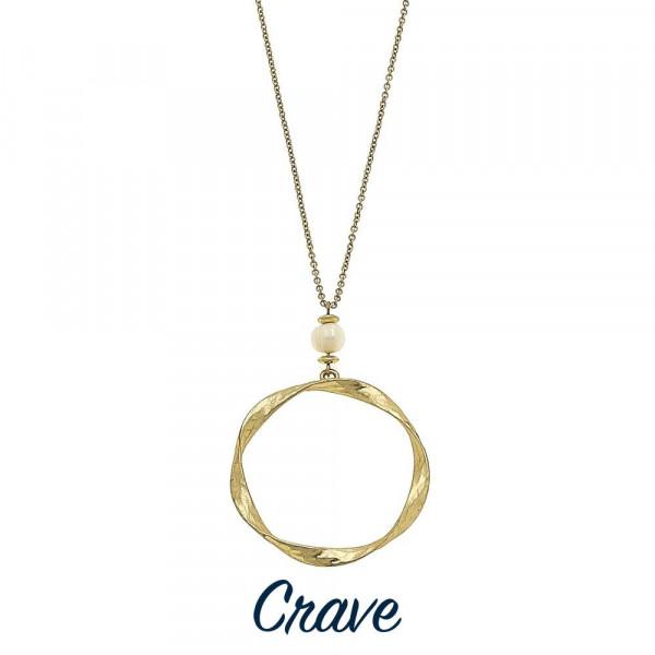 Wholesale long hammered circle pendant necklaces faux pearl detail Chain long Pe