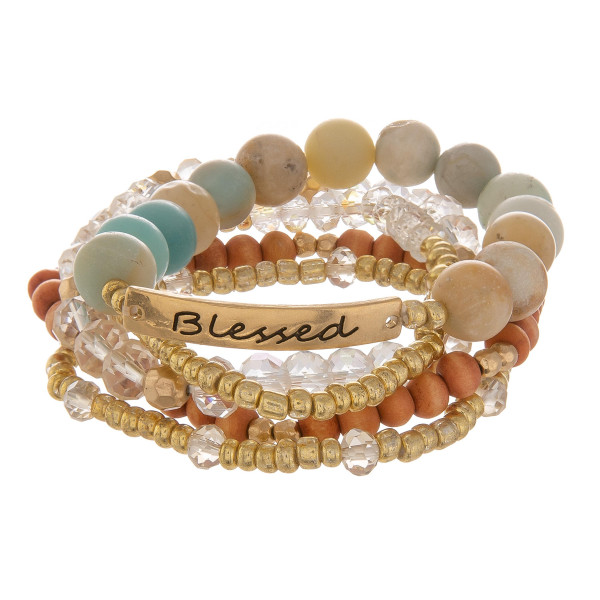 Wholesale natural stone layered bracelet some beads Approximate