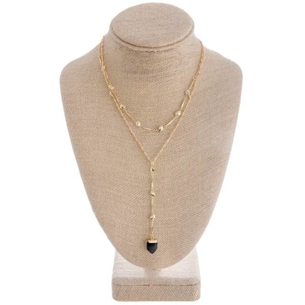 Wholesale long metal Y necklace natural stone pendant Approximate