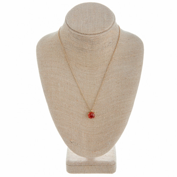 Wholesale long metal necklace ruby inspired natural stone pendant Pendant cm dia
