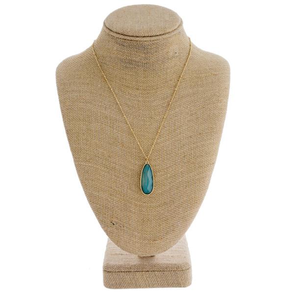 Wholesale dainty satellite chain necklace iridescent acrylic stone teardrop pend