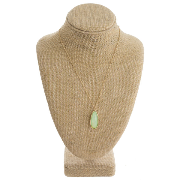 Wholesale dainty satellite chain necklace iridescent acrylic stone teardrop pend