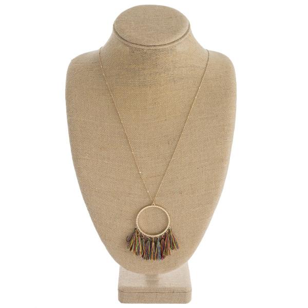 Wholesale long dainty chain necklace circular pendant thread fan tassel details