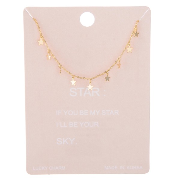 Wholesale dainty star dangle lucky charm necklace L extender