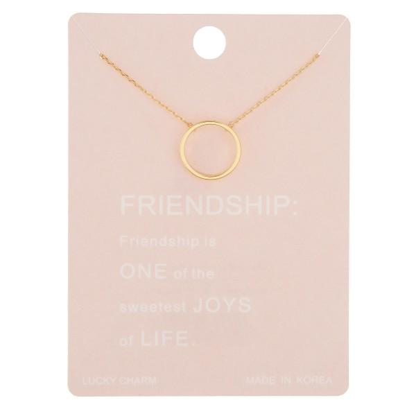 Wholesale dainty circle friendship lucky charm necklace Pendant diameter extende