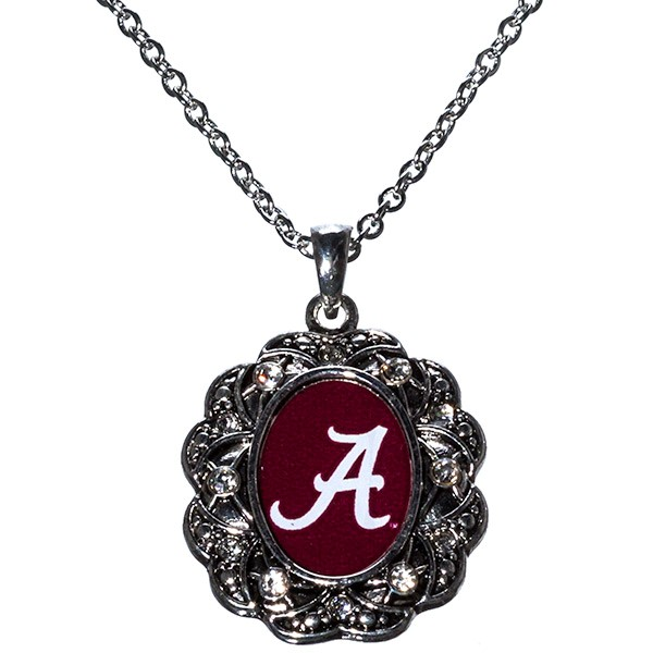 Wholesale officially licensed inch Alabama inspired silver necklace logo center