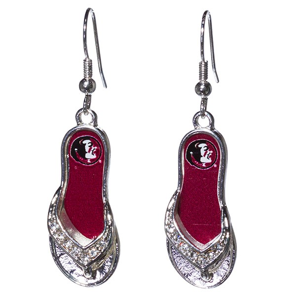 Wholesale inch licensed silver toned flip flop earrings Florida State logo
