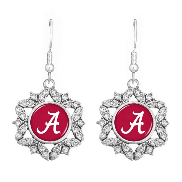 Wholesale officially licensed silver hook earrings starburst Alabama logo