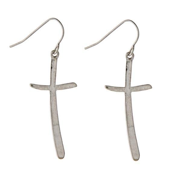 Wholesale silver hook cross earrings