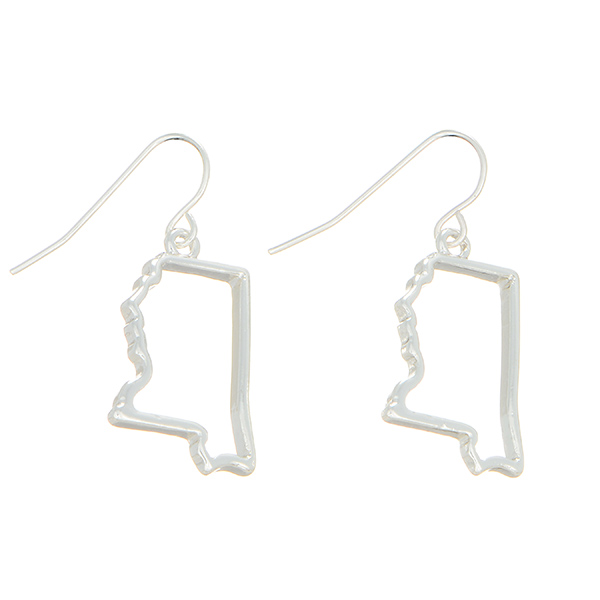 Wholesale silver fishhook earrings state Mississippi cutout