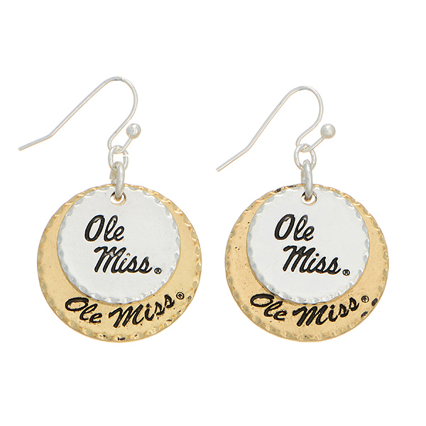Wholesale mixed metal officially licensed collegiate earrings two disk stamped O
