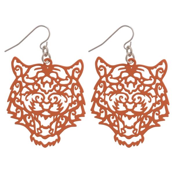 Wholesale orange fishhook earrings cutout tiger