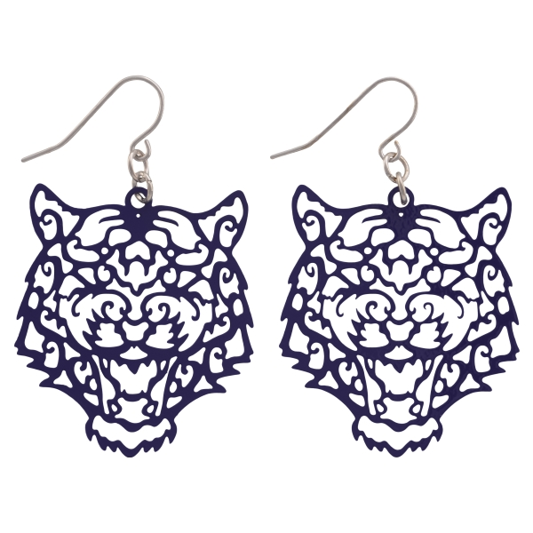Wholesale purple fishhook earrings cutout tiger