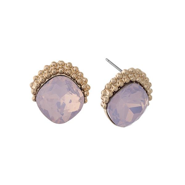 Wholesale gold post earrings displaying pale pink rhinestone textured metal edge