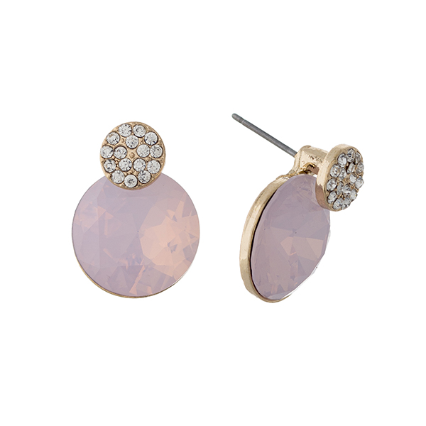 Wholesale gold post earrings pave disk round pale pink rhinestone