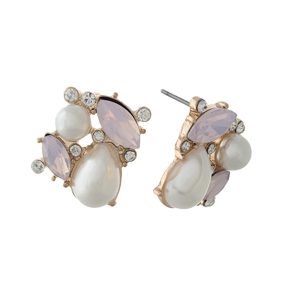 Wholesale gold post earrings faux ivory pearls pale pink cabochons