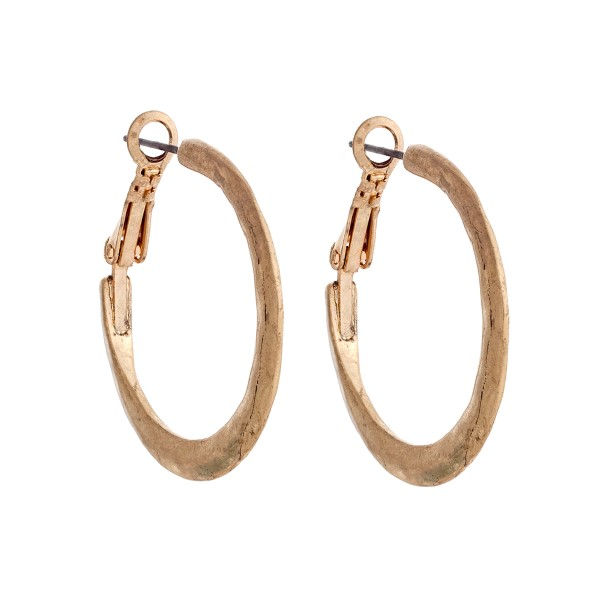 Wholesale worn gold hammered hoop earrings