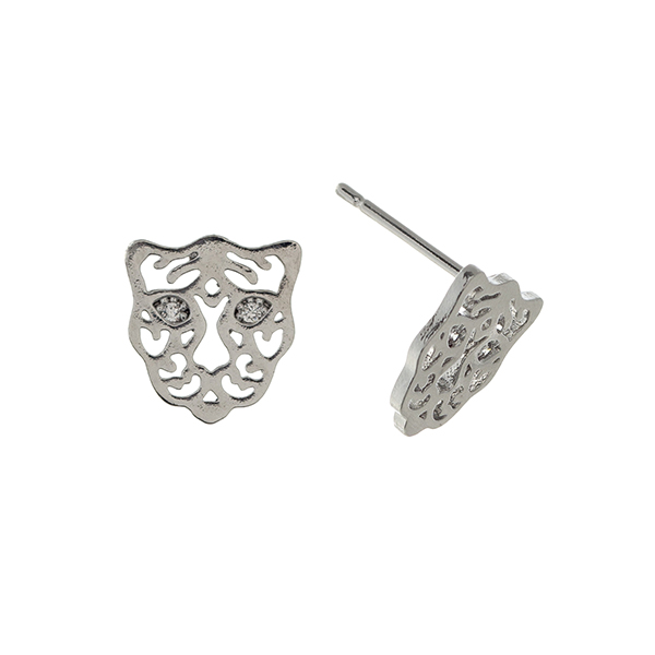 Wholesale silver post earrings displaying cutout tiger rhinestone eyes