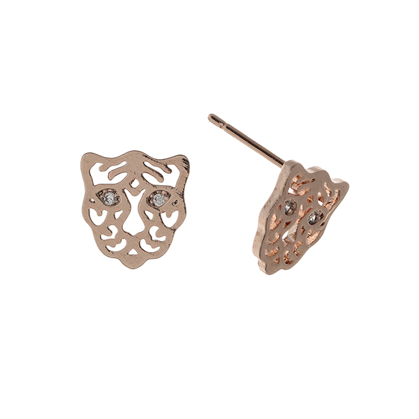 Wholesale rose gold post earrings displaying cutout tiger rhinestone eyes