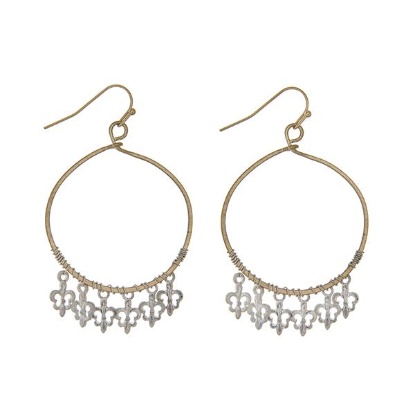 Wholesale worn gold loop earrings worn silver dangling fleur de lis charms