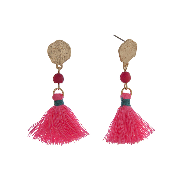 Wholesale matte gold drop earrings displaying fuchsia bead linked neon pink tass