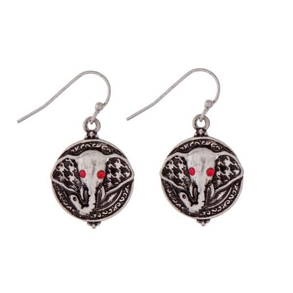 Wholesale silver fishhook earrings elephants head red rhinestones